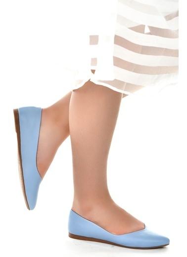 Ayakland Ayakland 1920-209 Günlük Anatomik Bayan Cilt Babet Ayakkabı Mavi